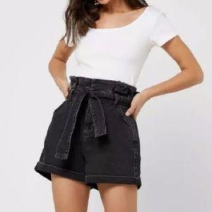 NWT Topshop Black Denim Paperbag Shorts 12